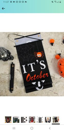 Halloween Decorations Outdoor Indoor,Halloween Decor Porch Signs,Halloween Banners for Front Door or Indoor Home Decor,Halloween Welcome Signs,Trick o Thumbnail