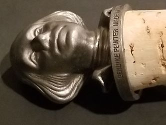 Pewter George Washington Bottle Stopper Wine Cork Topper Made in USA Never Used  Thumbnail