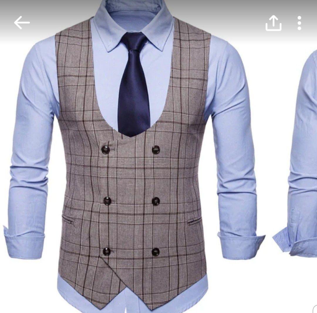 New U-shaped plaid print double the high low waistcoat