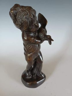 Beautiful Vintage Girl with Goose Brass Figurine Thumbnail