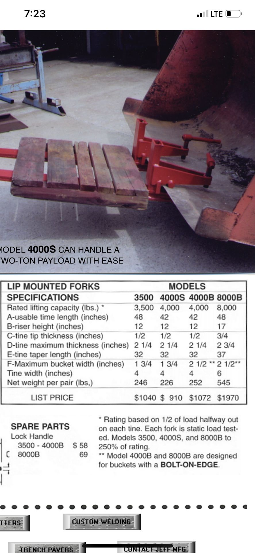 Construction Forks 4000lb rated