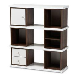 Rune Modern and Contemporary Two-Tone White and Walnut Brown Finished 2-Drawer Bookcase Thumbnail