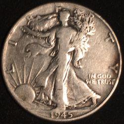 Silver 1945 Walking Liberty Half Dollar  Thumbnail