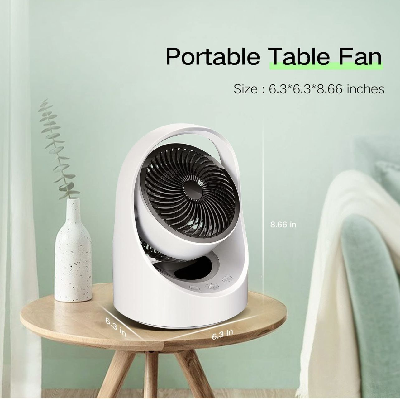 Air Circulator Fan Rechargeable Desk Fan Portable Oscillating Cordless Fan with LED Light 4 Speeds USB Powered Quiet Table Fan for Home Office Bedroom