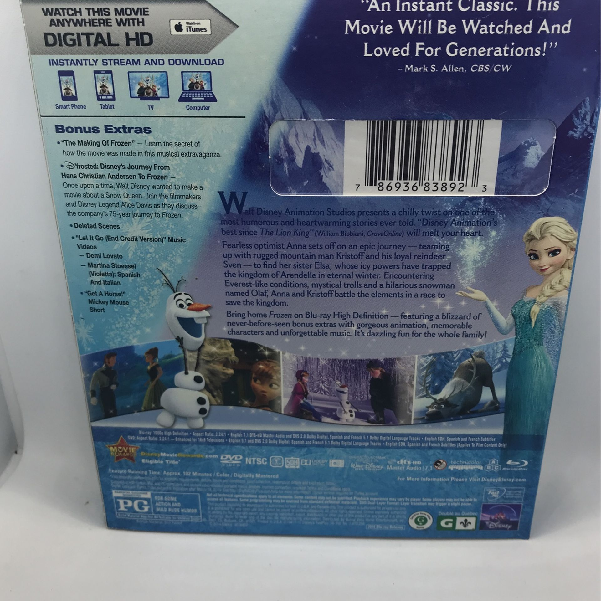 Disney's Frozen Blu-ray DVD Digital Copy New