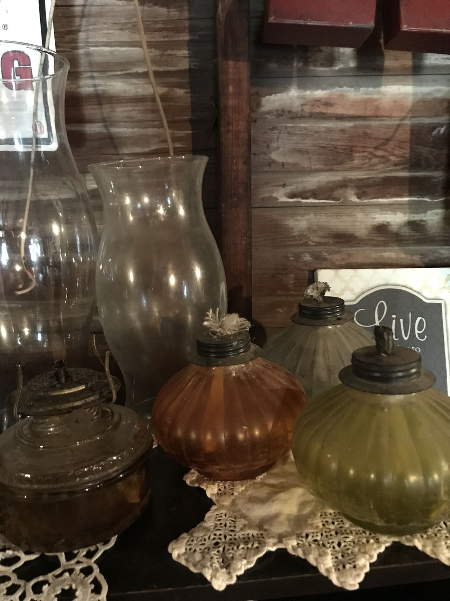 Vintage hurricane lamps ALL