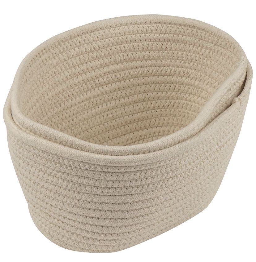 Woven Storage Baskets - 3-Pack Cotton Rope Baskets, Decorative Hampers, Collapsible Rope Storage Bins for Toys, Towels, Blankets, Nursery, Kids Room,