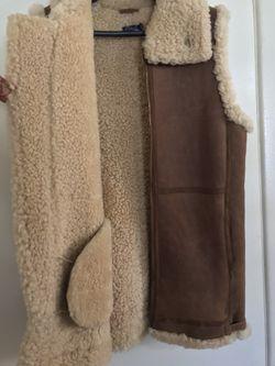 Polo 🐎 Ralph Lauren 🇺🇸 Fur & Leather Vest Sz Medium Thumbnail