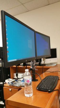 """【Price Super Firm】Two HP 24""""LED monitors on one Dual-armed stand, with cables: VGA, DVI, HDMI ports Thumbnail"""