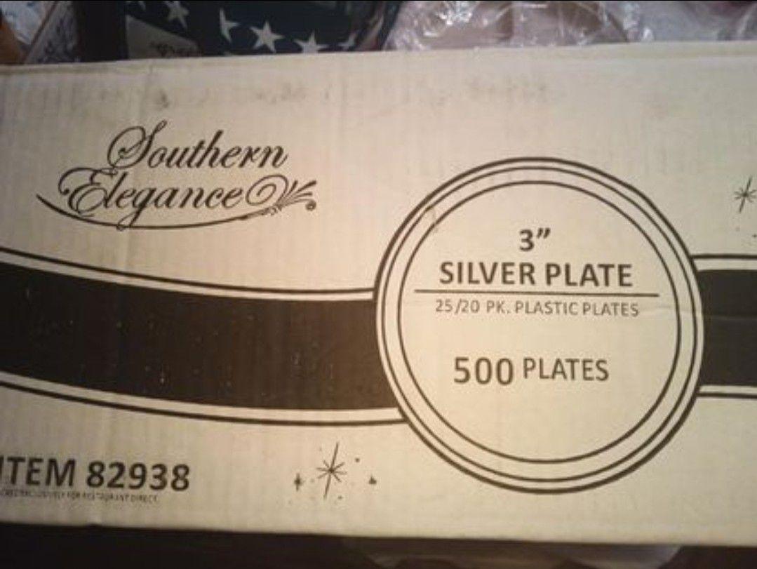 """500 Silver 3"""" square Dessert Plates Plastic"""