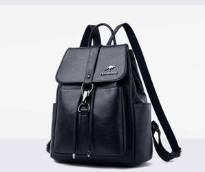Navy blue  Brand new 2021 genuine leather ladies casual all-match soft leather backpack Thumbnail