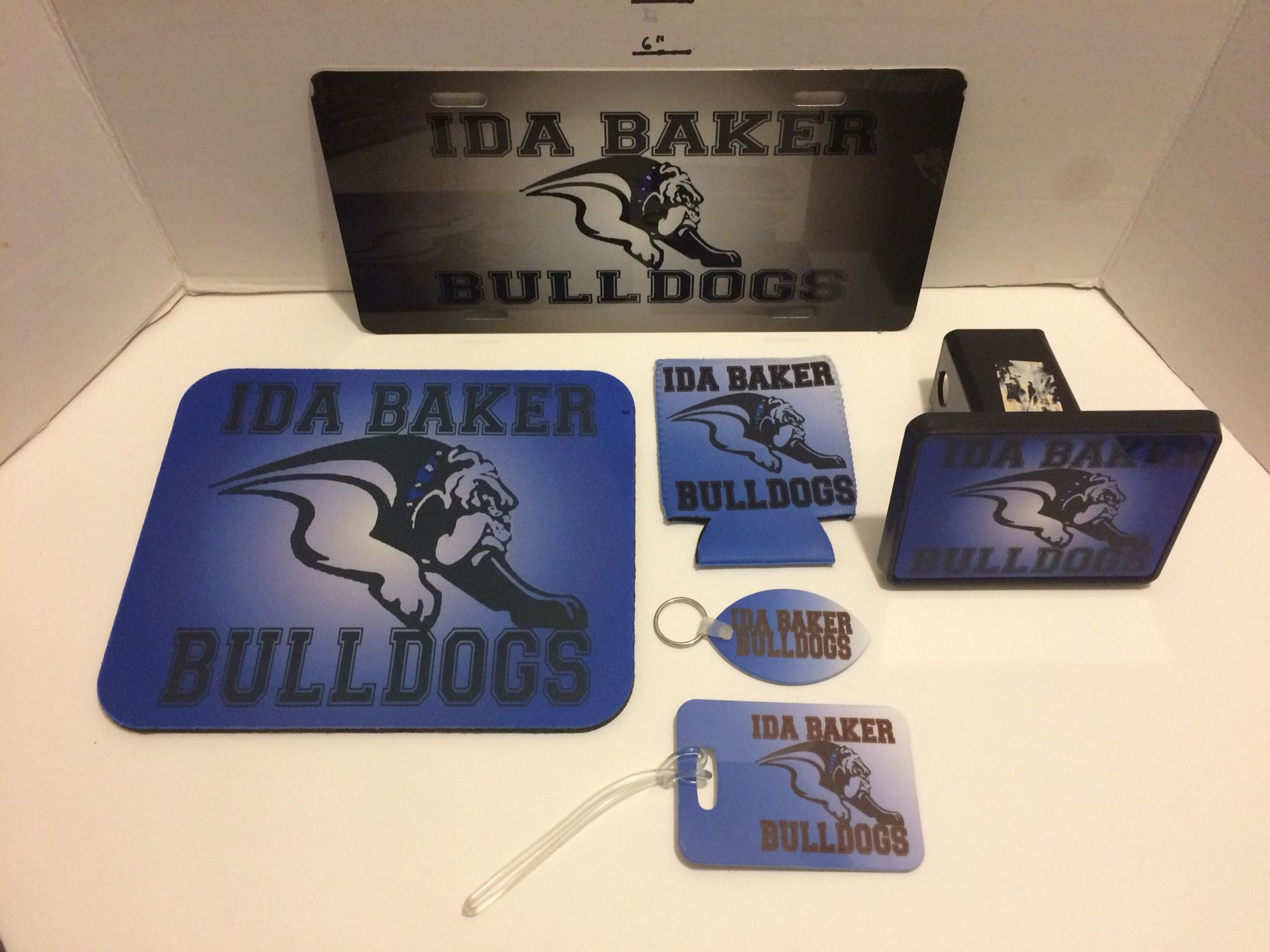Ida baker HS bulldogs lot of 6 items keychain license plate mouse pad can koozie luggage tag