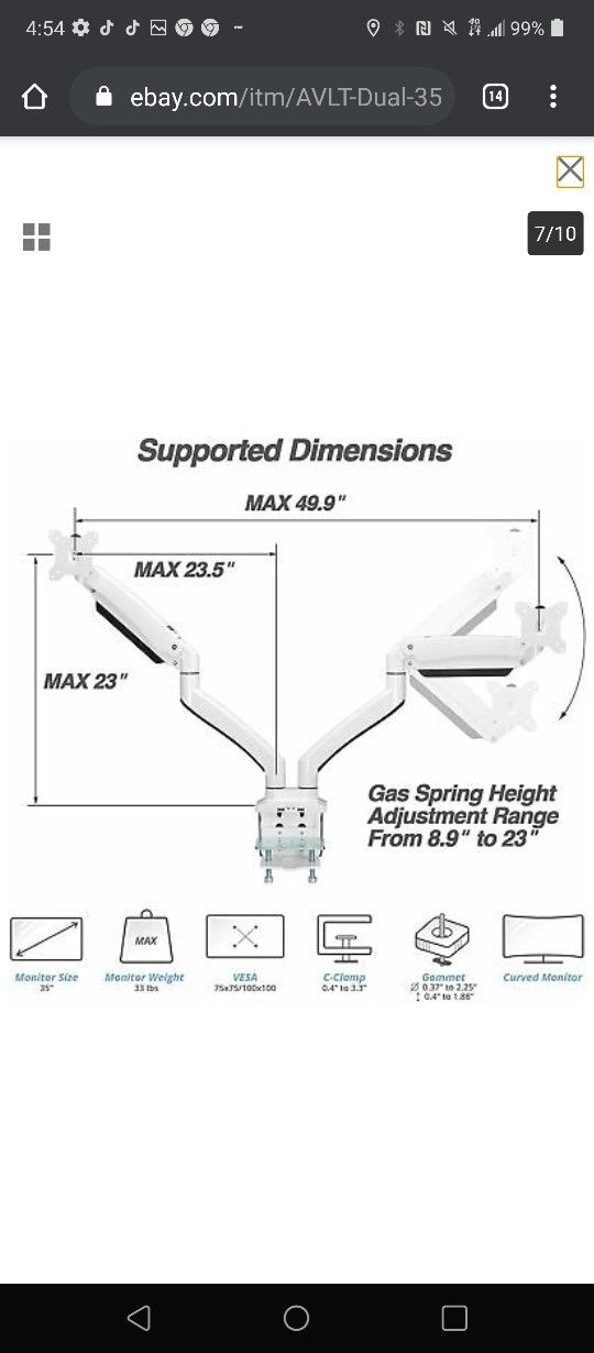 """AVLT Dual 35"""" Monitor Desk Stand - Mount Two 33 lbs Computer Screens"""
