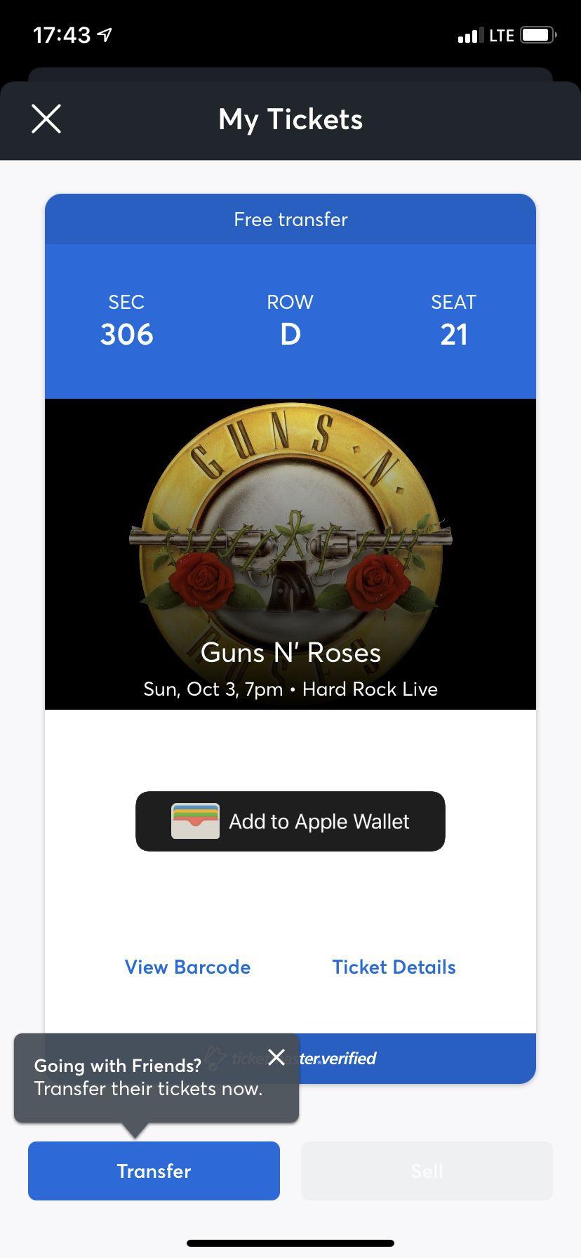 Guns N' Roses Ticket October 3rd Hard Rock Stadium