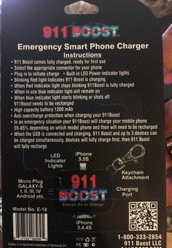 911 boost Emergency smart phone charger Thumbnail