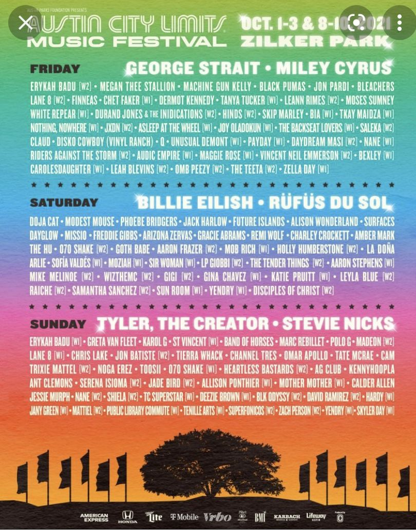 ACL One Three Day Pass  For Weekend One  Oct 1-3