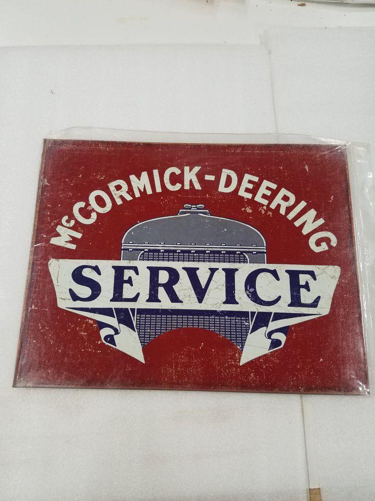 McCormick deering service farm tractor metal sign