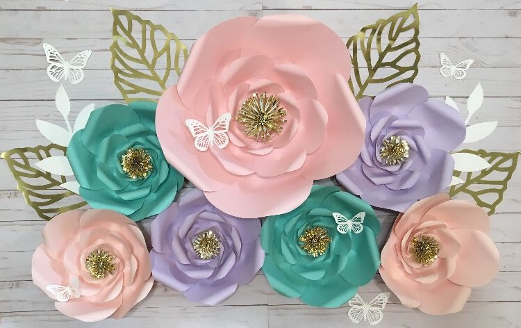 Fairy Theme Paper Flowers with Butterflies - 7 Piece Set