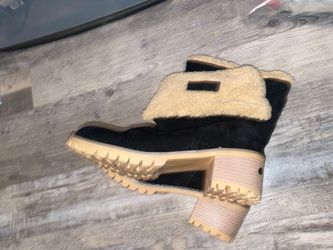 Womens Winter Snow Boots Round Toe Suede Chunky mid Heel Faux Fur Warm Ankle Booties Thumbnail