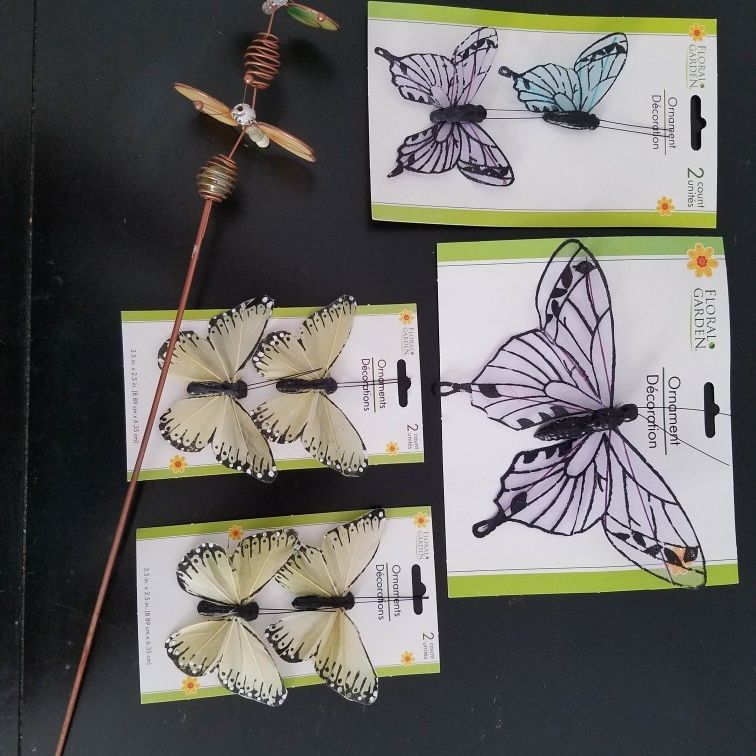 Lot Of 8 Butterfly Decorations