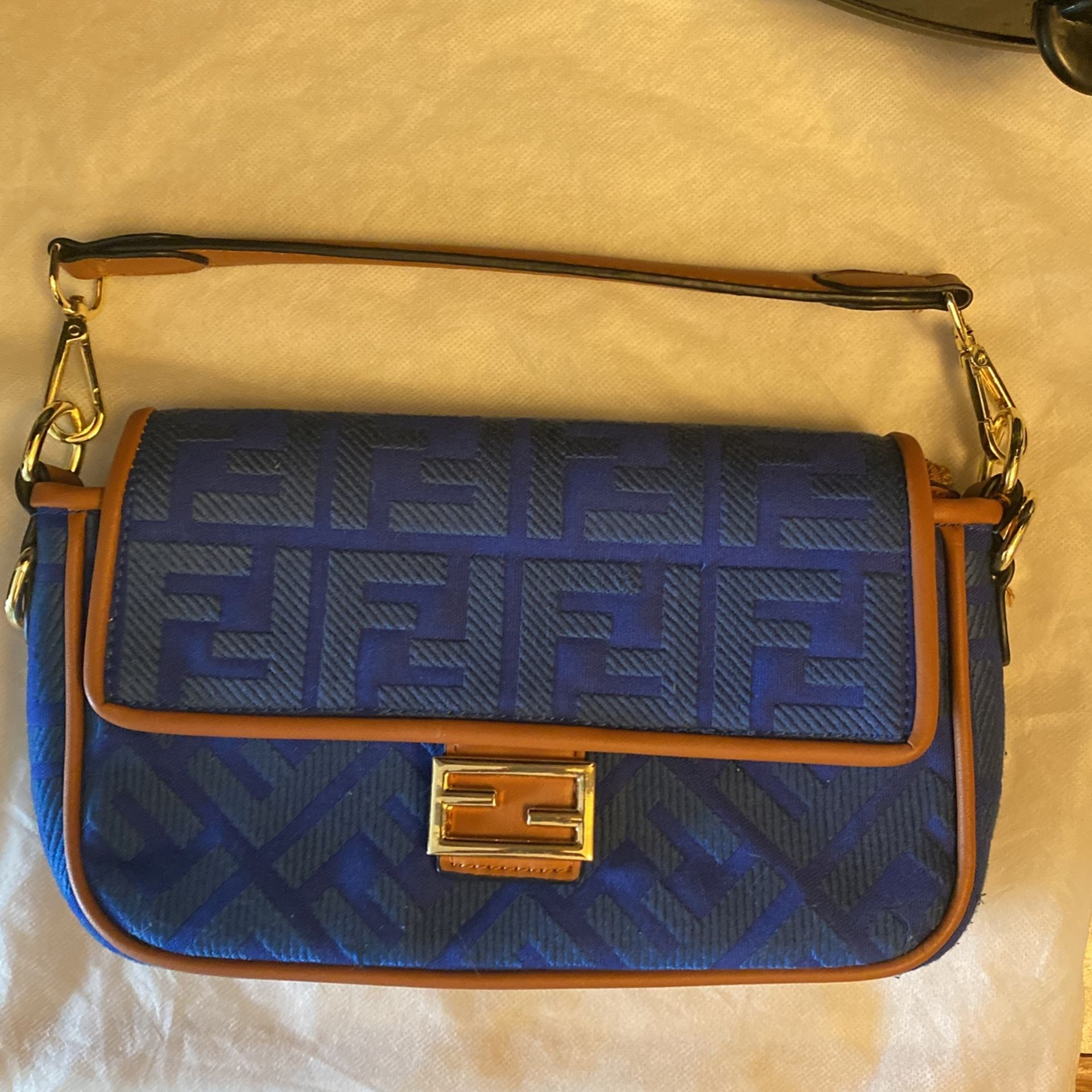 Fendi Clutch Purse-smaller type- (royal Blue In Color) Made In 🇮🇹