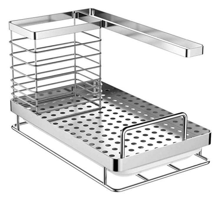 Stainless steel kitchen caddy organizer with drain pan