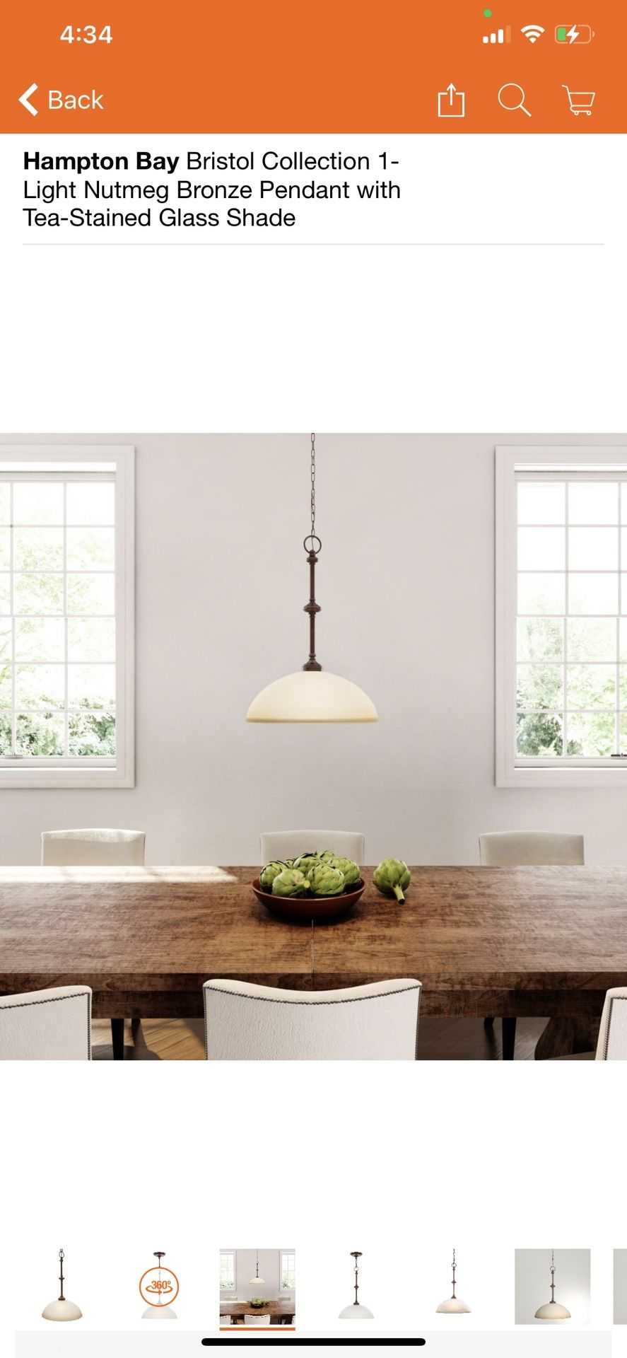 Hampton Bay Bristol Collection 1-Light Nutmeg Bronze Pendant with Tea-Stained Glass Shade