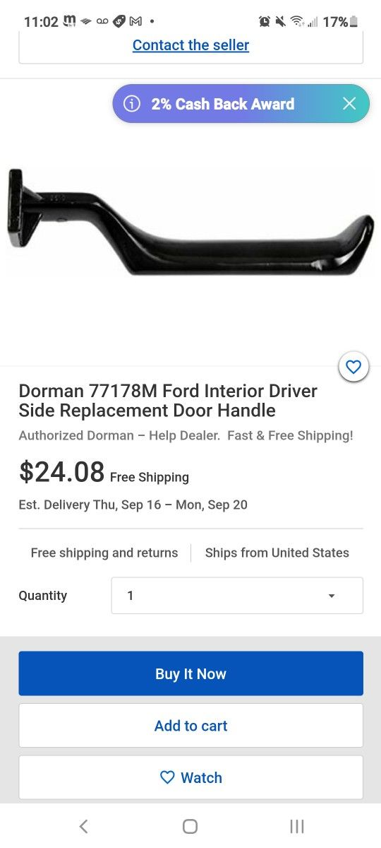 Dorman 77178M Ford Interior Driver Side Replacement Door Handle