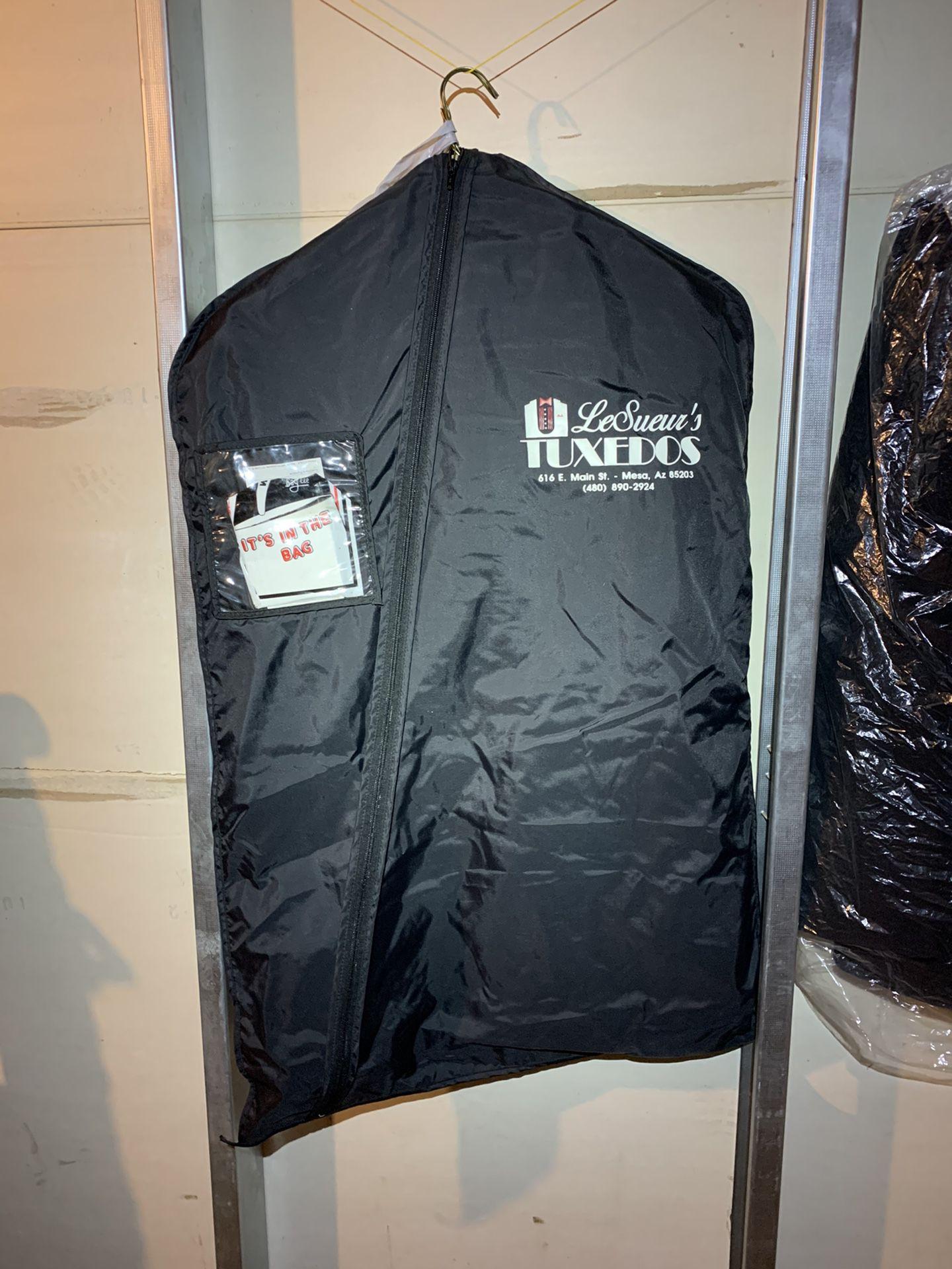 Men's beige / tan dress suit, off-white paisley vest / tie, tux travel bag, 38L jacket, 32x34 pants