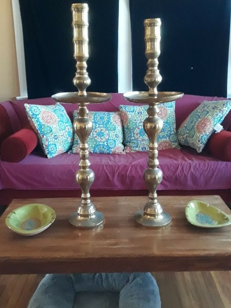 Pair Of Antique Brass  Candle Holders