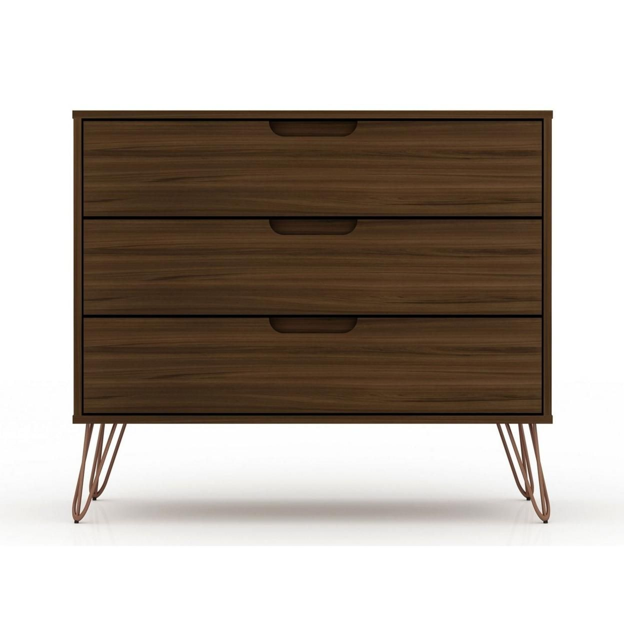 Rockefeller Mid-Century- Modern Dresser with 3- Drawers in Brown