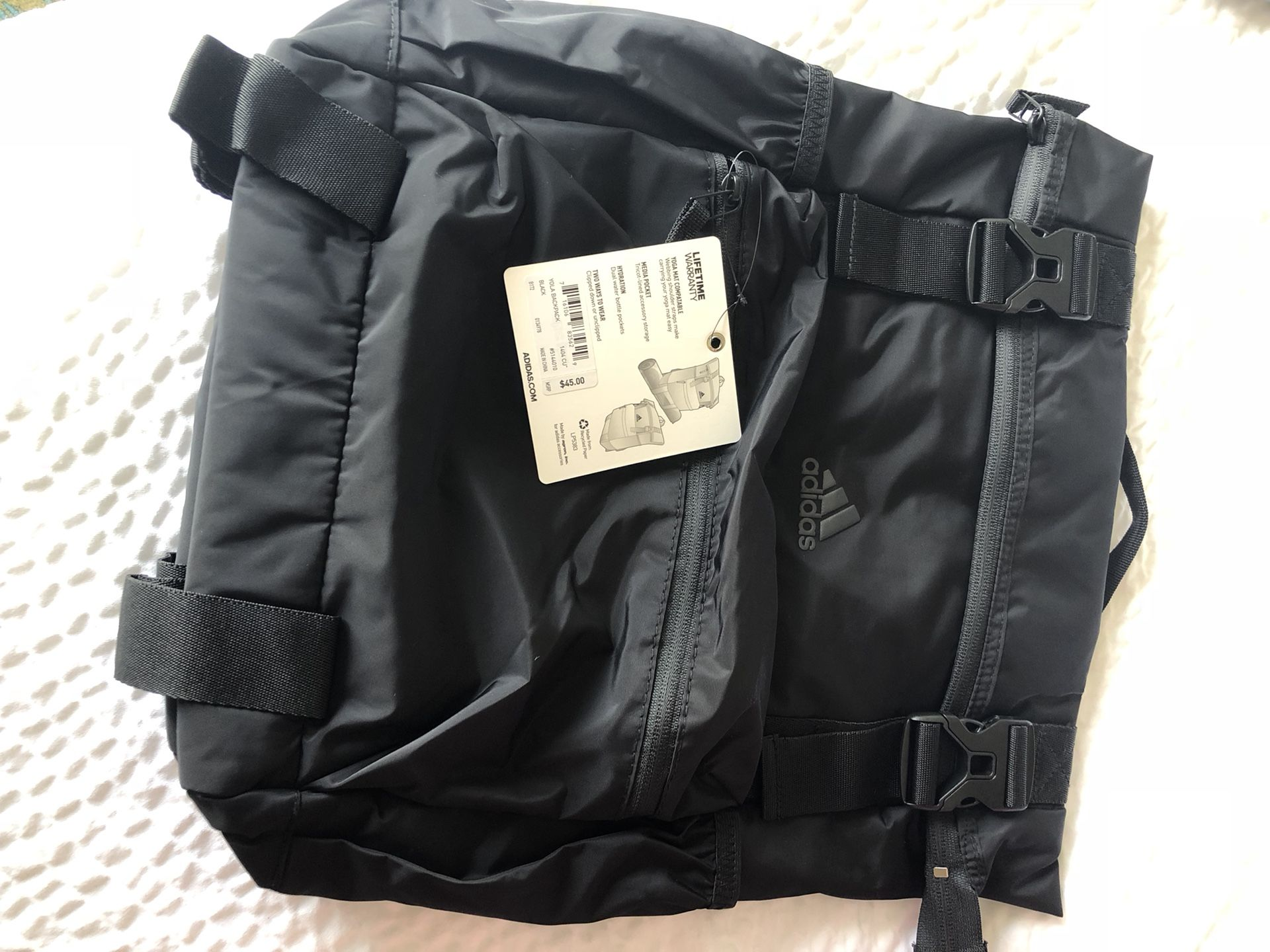NEW never used, Adidas backpacks, available colors grey & black, 5 compartment, paid over $45, asking $20