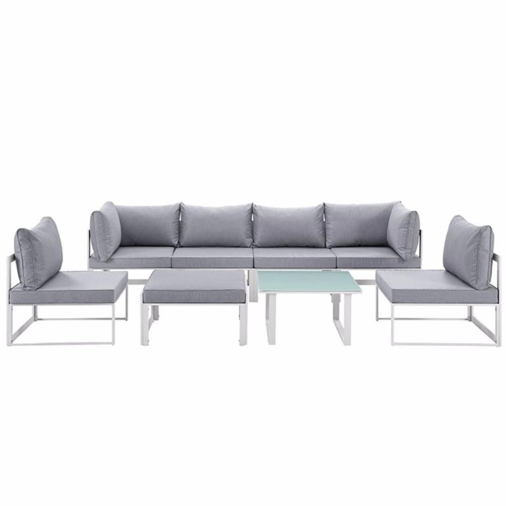 Fortuna 8 Piece Outdoor Patio Sectional Sofa Set , White Gray