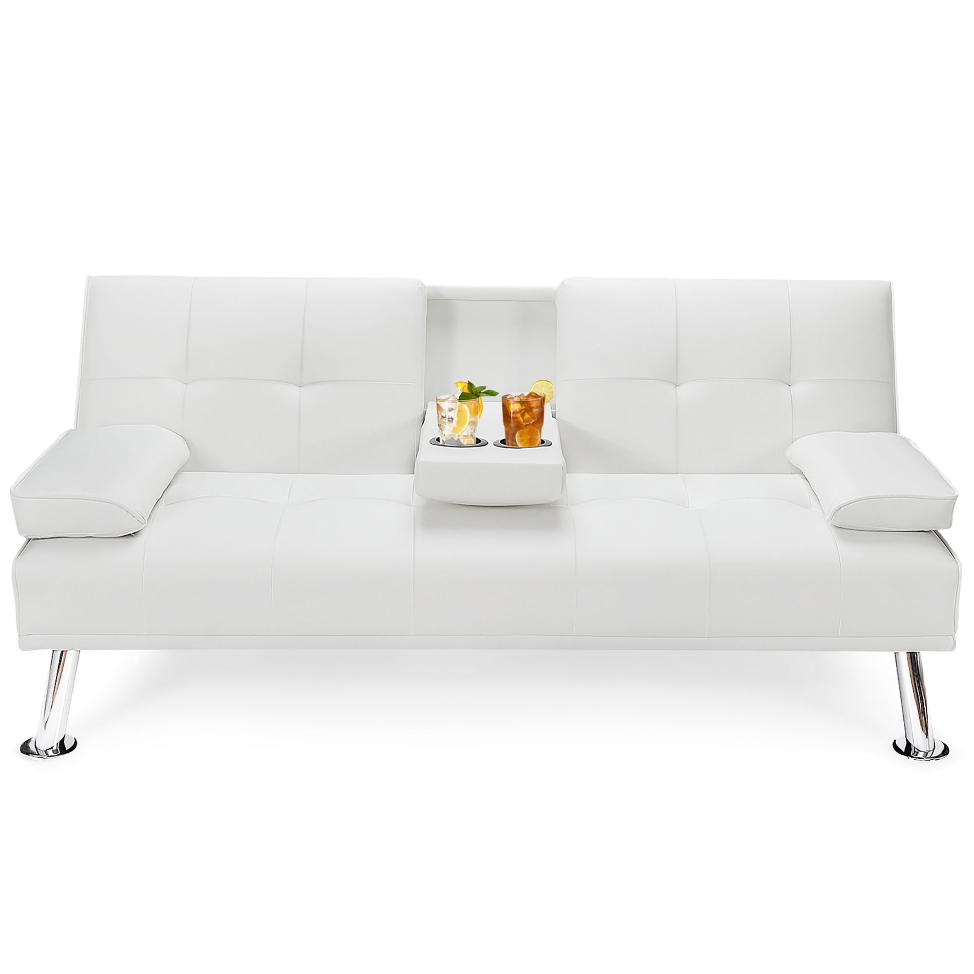 Costway Convertible Folding Futon Sofa Bed Leather w/Cup Holders&Armrests White