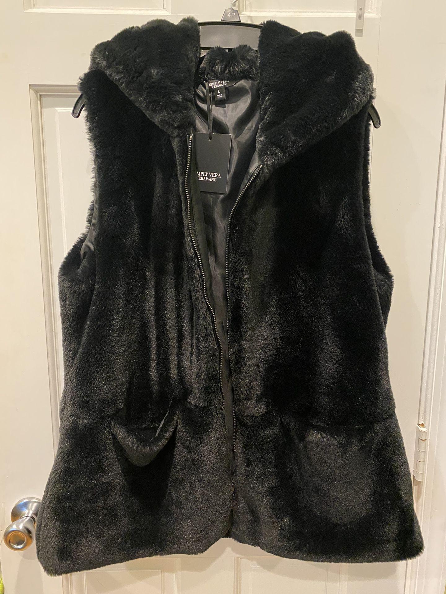 Vera Wang Faux Fur Hooded Vest