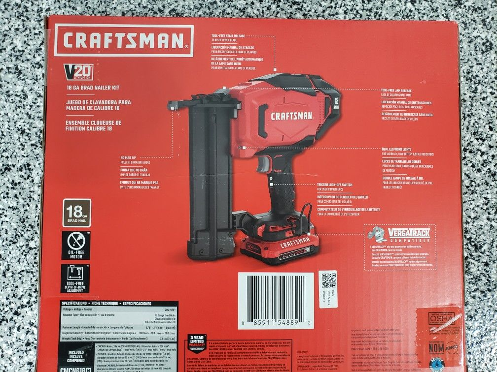 Craftsman Battery Powered 18 Gauge Brad Nailgun