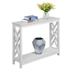 Titan Console Table with Shelf, White Thumbnail