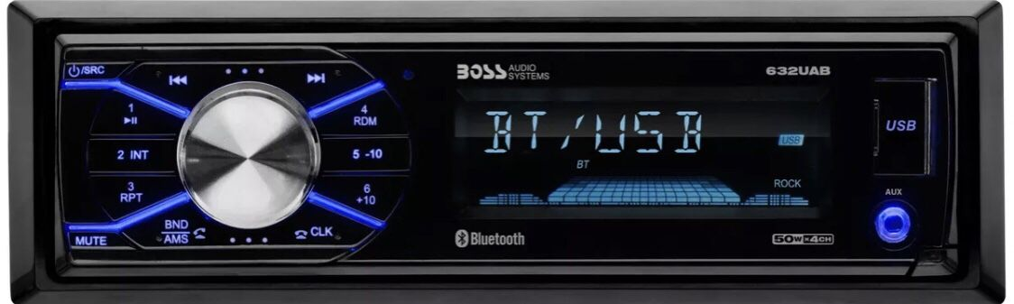 BOSS 632UAB Single 1 Din MP3 Bluetooth USB AUX AM/FM Car Stereo Detachable Face