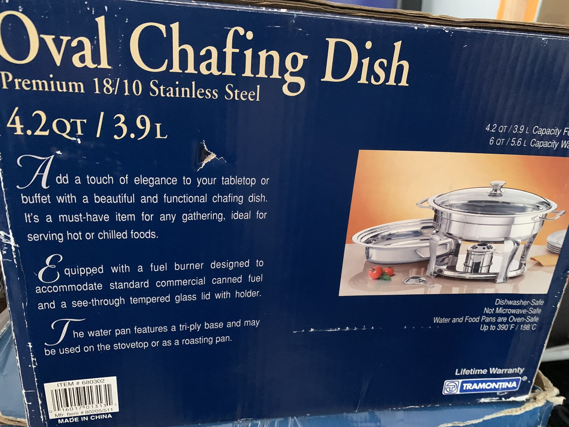 CHAFING DISH OVAL-TRAMONTINA #680302 PREMIUM 18/10 STAINLESS STEEL 4.2 QT/ 3.9L