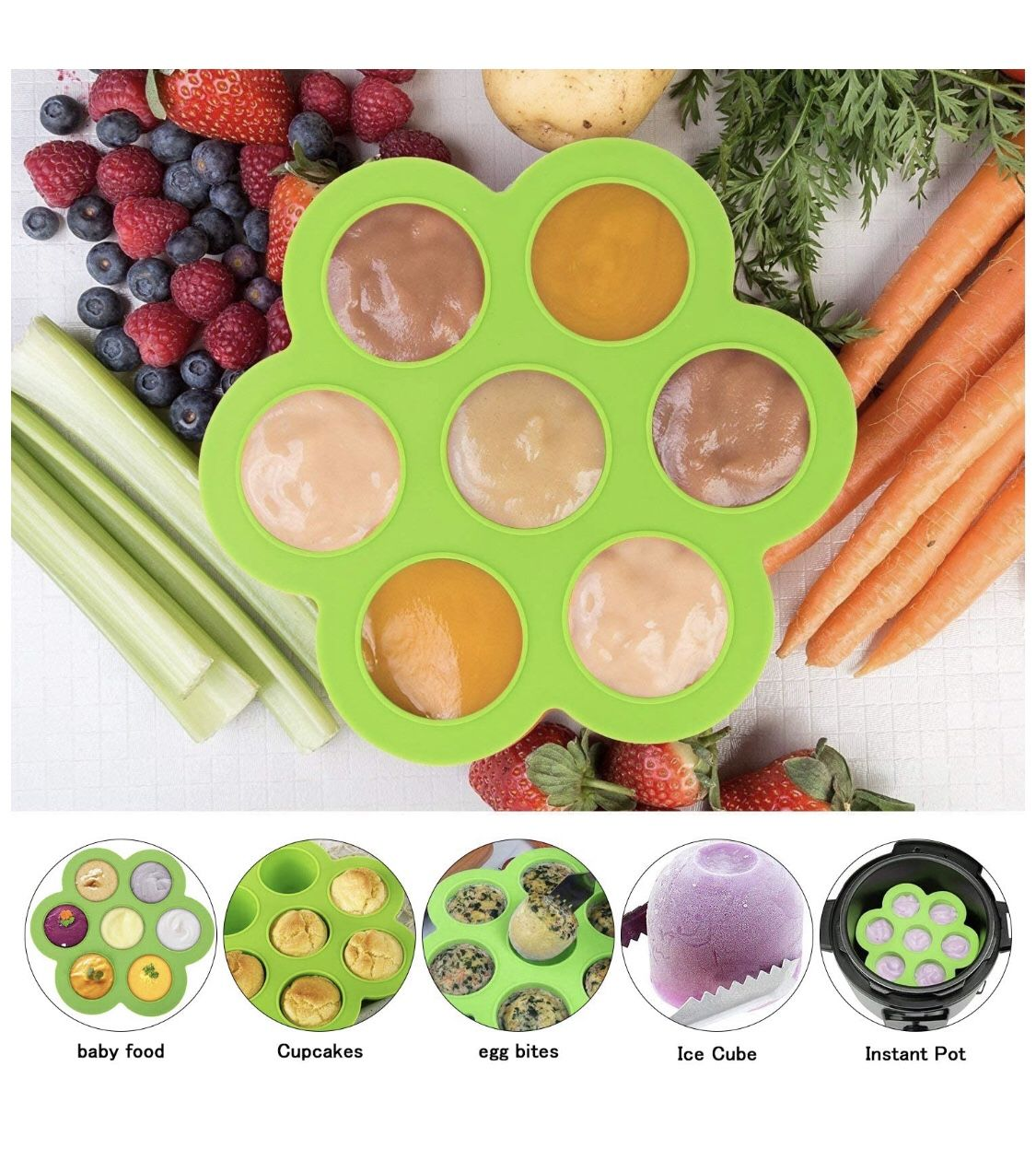 Silicone Egg Bites Molds and Steamer Rack Trivet with Heat Resistant Handles Compatible