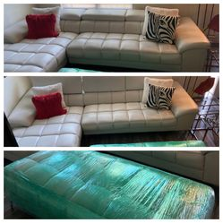 Off-White Faux Leather Sectional (couch + chaise + ottoman) Thumbnail