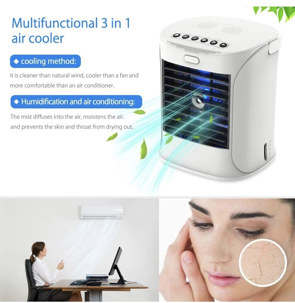 Portable Air Conditioner, Nanssigy Personal Oscillating Mini Air Cooler, Desk Fan Evaporative Cool Mist Humidifiers Air Circulator, Perfect for Bedroo