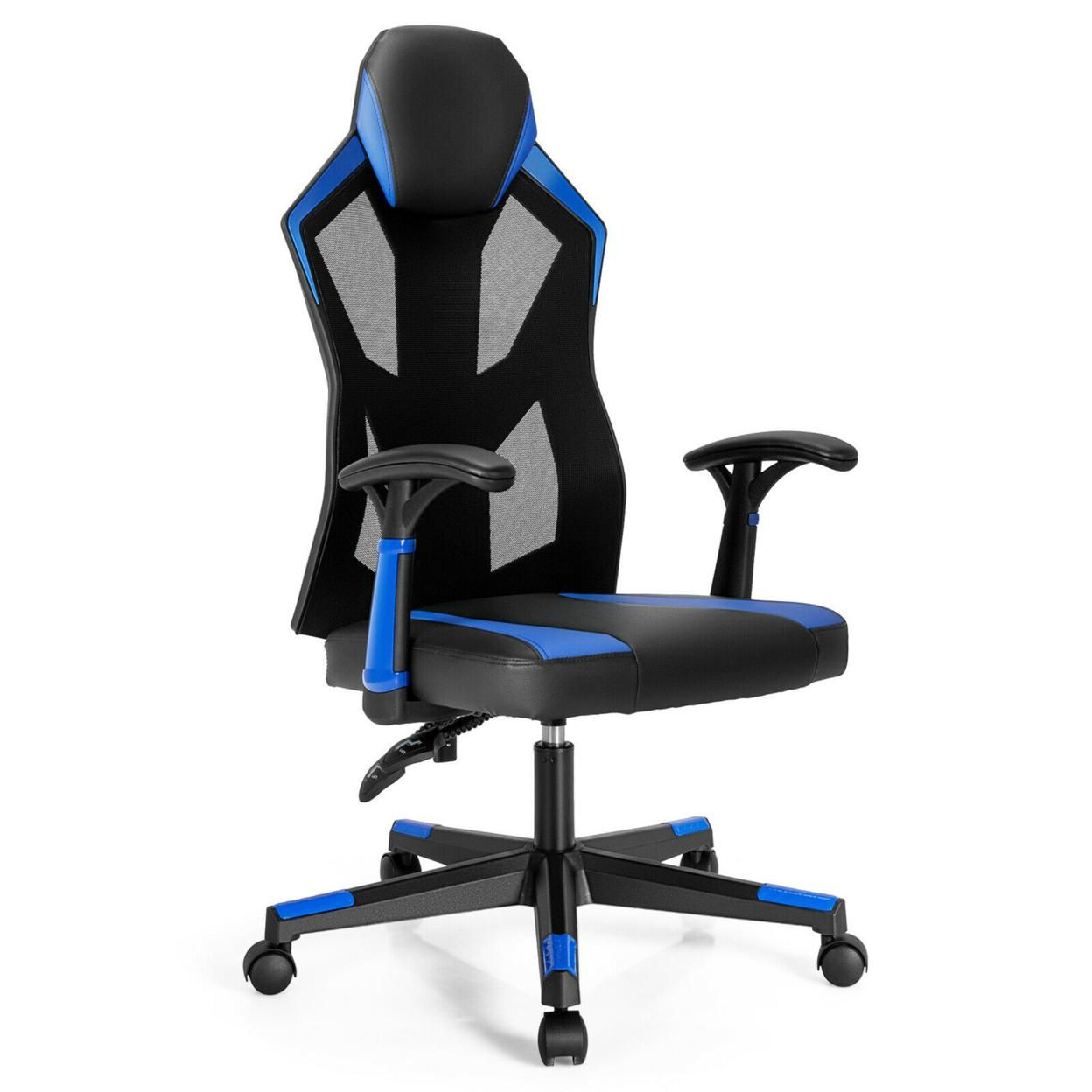 Gymax Gaming Chair Swivel Computer Office Chair w/ Adjustable Mesh Back
