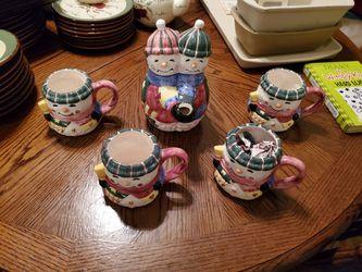 Snowmen tea pot set Thumbnail