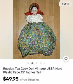 Vintage Russian Doll Tea Pot Cozy USSR Thumbnail