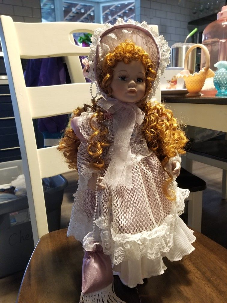Porcelain Doll With Red Hair And Stand