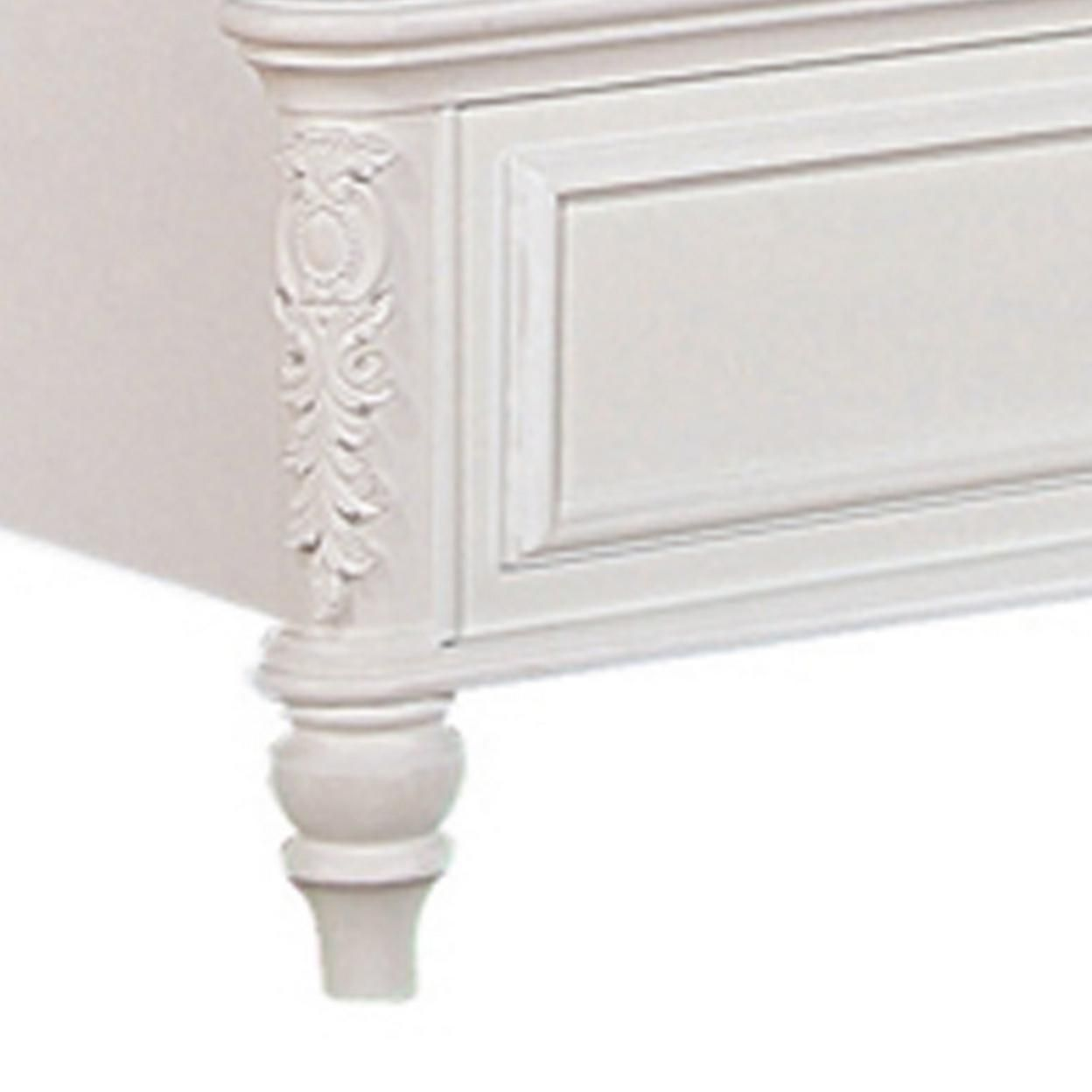 Saltoro Sherpi Wooden Twin Size Bed with Button Tufted Headboard, Pink and White