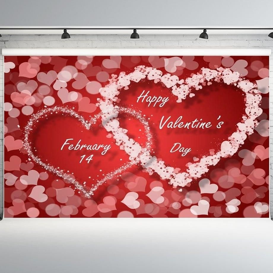 7x5ft Valentine's Day Backdrops Heart Shape Background Photo Booth Props