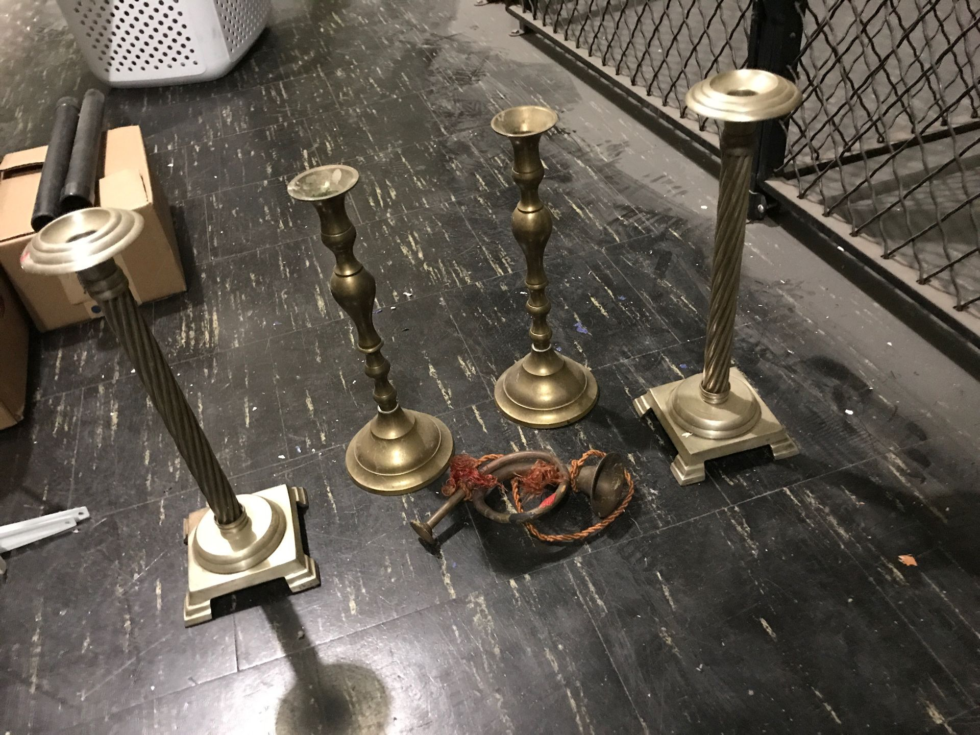 Large brass and copper candle stick holders made in India
