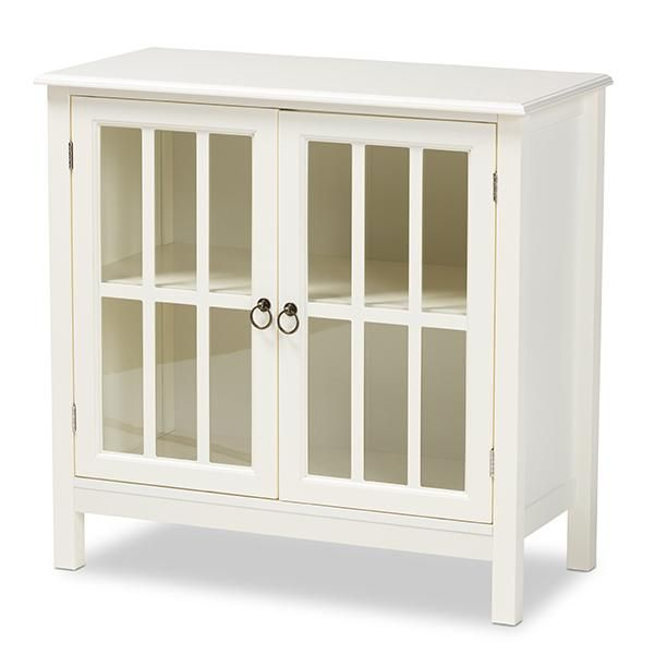 Kendall Classic and Traditional White Finished Wood and Glass Kitchen Storage Cabinet